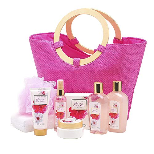 Green Canyon Spa Gift Basket for Women in Pink Tote Bag with Wood Handles, 9 Piece Japanese Cherry Blossom Collective Bath and Body Spa Holiday Gift Set with Essential Oils, Sunflower Seed Oil