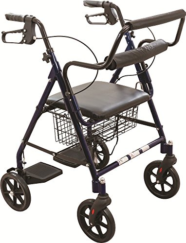 - ProBasics Transport Rollator Walker With Seat and Wheels - Folding Walker And Transport Chair, Blue