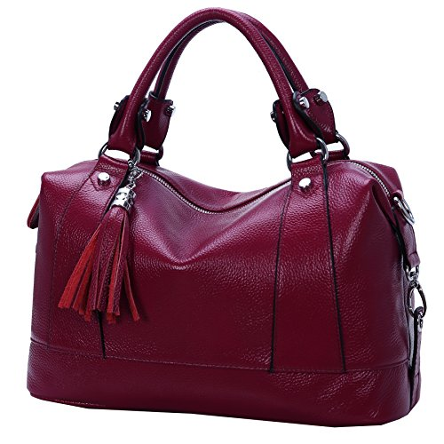 - Heshe Leather Shoulder Bag Womens Tote Top Handle Handbags Cross Body Bags for Office Lady (Purple Red)