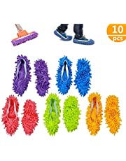 ZoneYan mop Slippers,mop Polvere,Multi Funzione Ciniglia Fibra Lavabile Piano Pulizia Scarpe per Bagno Ufficio Cucina Casa Lucidatura Pulizia, 10 pz 5 Paia