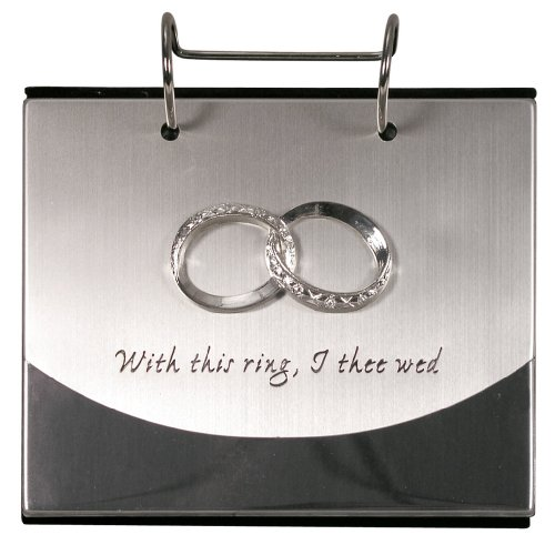 Malden International Designs Wedding Rings With This Ring, I Thee Wed Flip Album Picture Frame, Silver (Wedding Flip Album)
