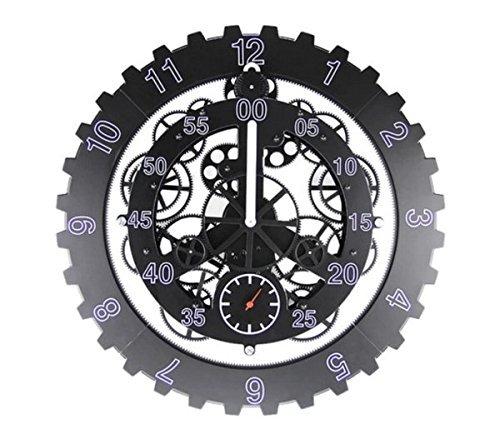 GREEM MARKET(グリームマーケット) 高級 モダン ユニーク デザイン 歯車 ギア おもしろい 回る 動く 壁掛け 時計掛け時計 品番: GMS00955(ブラック) B077Q9NYCX ブラック ブラック