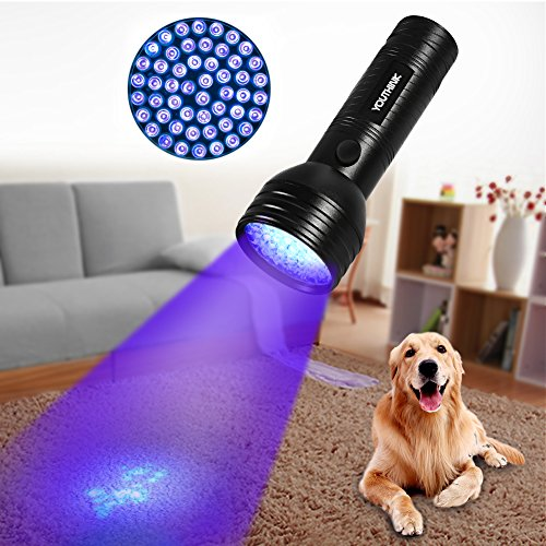 Pet Urine Detector Light Handheld UV Black Light Flashlight Portable Dog Cat Urine Carpet Detector Super Bright 51 LED UV Light for Pet Stain, Minerals, Automotive Leak Detection or Scorpion Hunting