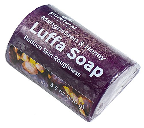 Price comparison product image Luffa Soap Bar Exfoliant to clean dark spots dirt Body Scrub Soap for skin Whitening with Natural Mangosteen and Honey Original by Puretural