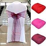 Yamalans 108 x 7 inch Organza Chair Sash Cover Ribbon Bowknot Wedding Banquet Party Chair Decorations Wine Red Blue