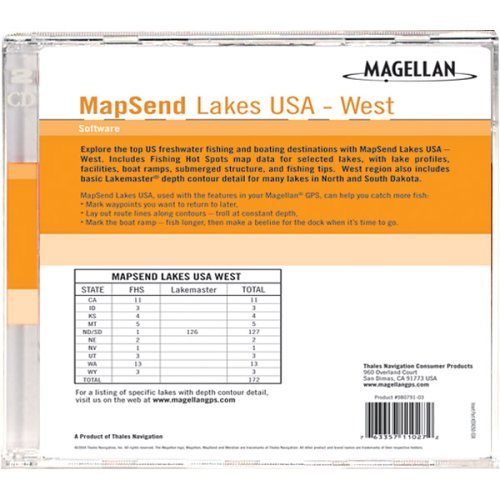 Software Lakes Usa Sd Card - Magellan MapSend U.S.A. Lakes, West Freshwater Map microSD Card
