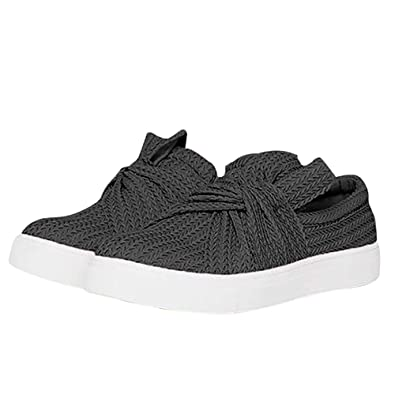 Snidel Platform Sneakers For Women Fashion Slip On Grey Loafers Spring Bow Knitted Twist Flat Shoes by Snidel