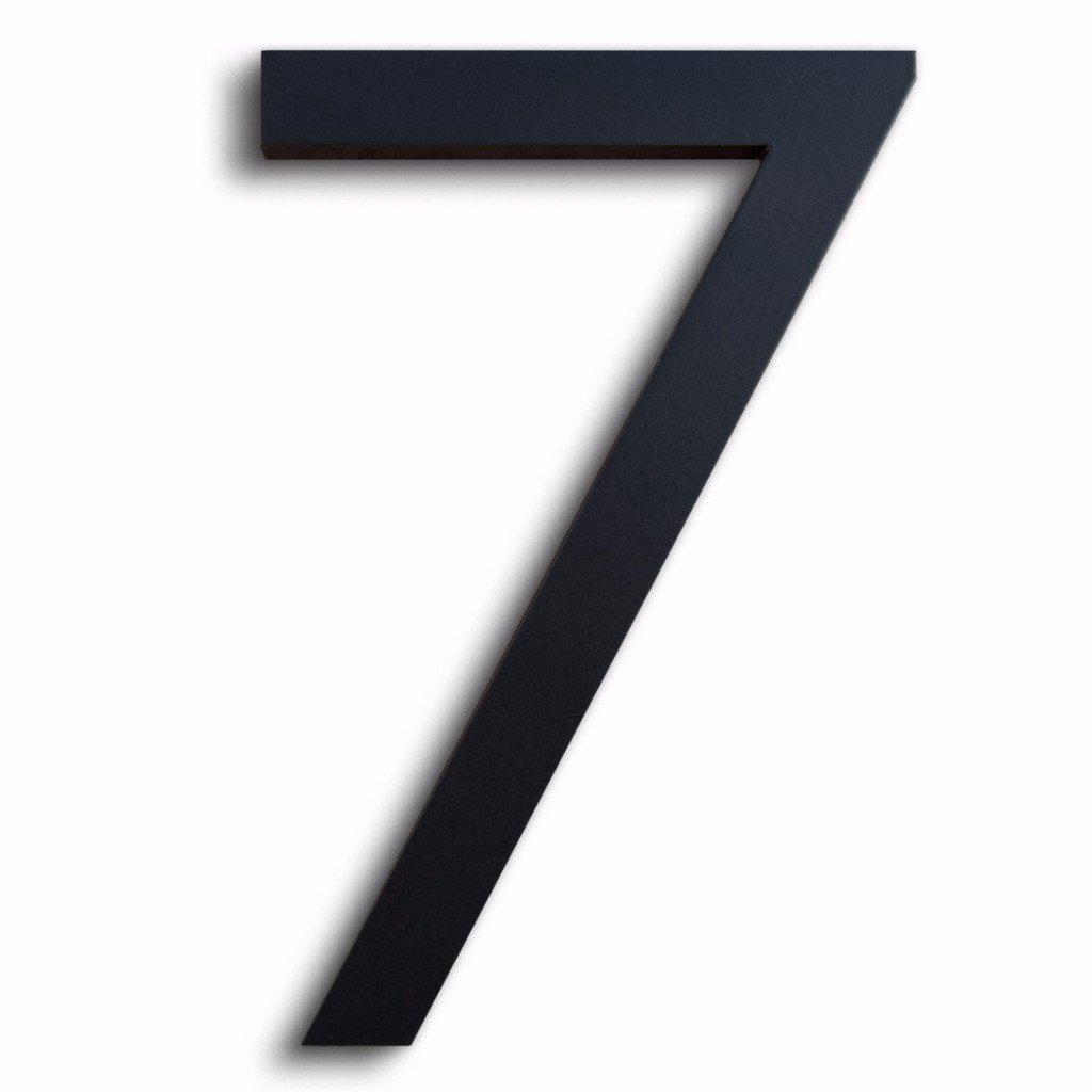 Modern House Number Black Color Aluminum Modern Font Number Seven''7'' 6 inch