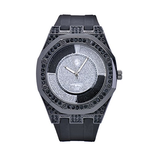 (Techno Pave XL Bling Iced Out Black Silicone Band Watches WR 8154)