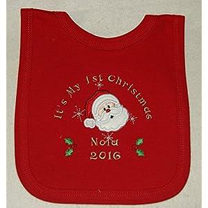 Baby's 1st Personalised Santa Applique Christmas Bib. (Red)