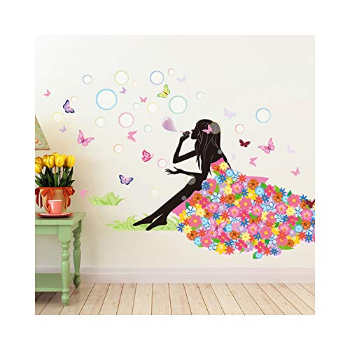 Alrens 52 x 35 Inch Butterfly Girl Bubbles Flower DIY Wall Sticker for Kids Art Home Decor Bedroom Living Room Wall Decorative Vinyl Wall Decals Decoracion