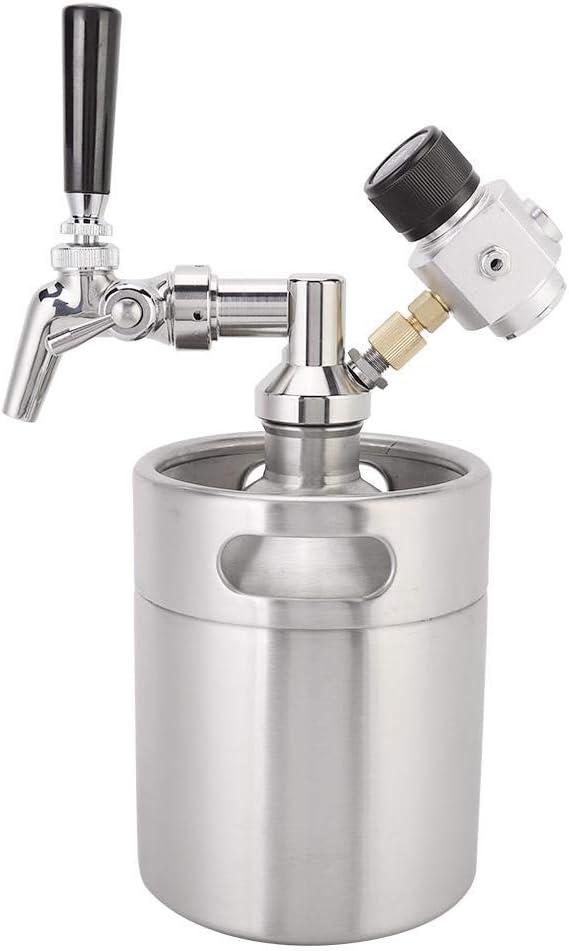 Barril de cerveza, kit de mini barril Homebrew de acero inoxidable de 2L Grifo de cerveza + Lanza + Barril + Manómetro Muy adecuado para la fermentación, almacenamiento y mezcla de cerveza