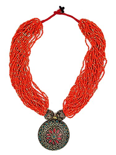 Jayde N' Grey Tibetan Turquoise & Coral Inlay Bohemian Beaded Statement Necklace (Orange)