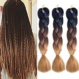 MSHAIR Ombre Jumbo Braiding Hair Extension Synthetic Kanekalon Fiber for Twist Braiding Hair Black/Dark Brown/Light Brown Color 24 Inch 3 Pieces/lot