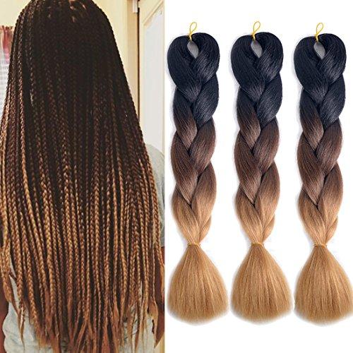 - MSHAIR Ombre Jumbo Braiding Hair Extension Synthetic Kanekalon Fiber for Twist Braiding Hair Black/Dark Brown/Light Brown Color 24 Inch 3 Pieces/lot