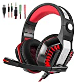 Gaming Headset STOGA Over Ear Headphones for PS4, Xbox One, PC, Noise Isolating with Microphone, LED Light, Bass Surround, Soft Memory Earmuffs for Laptop Mac Nintendo Switch Games (RED)