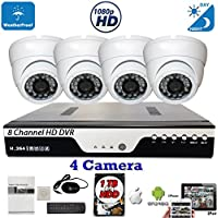 Evertech 8 Channel HD DVR Home Security Outdoor Surveillance System w/ 4 pcs 4in1 AHD TVI CVI ANALOG 1080P Dome security system video camera 1 TB Hard Drive w/ Free CCTV Warning Sign