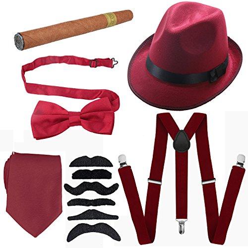 1920s Mens Accessories Hard Felt Wide Brim Panama Hat, Y-Back Elastic Suspenders & Pre Tied Bow Tie, Gangster Tie,Toy Cigar & Fake Mustache (OneSize, Burgundy) -