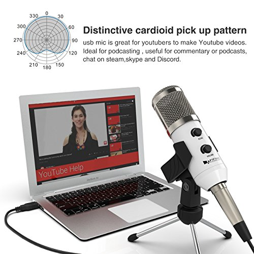 USB Condenser Mic Fifine Plug & Play Desktop Microphones For PC/Computer(Windows, Mac, Linux OX), Podcasting, Recording-White(K056) by FIFINE TECHNOLOGY (Image #3)