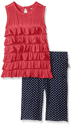 Burt's Bees Little Girls' Toddler Organic Tiered Ruffle Tank and Star Capri Set, Cranberry, 4T by Burt's Bees Baby (Image #1)