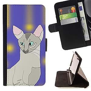 Momo Phone Case / Flip Funda de Cuero Case Cover - Sphynx Cat Art Pintura javanesa Azul; - Apple Iphone 6