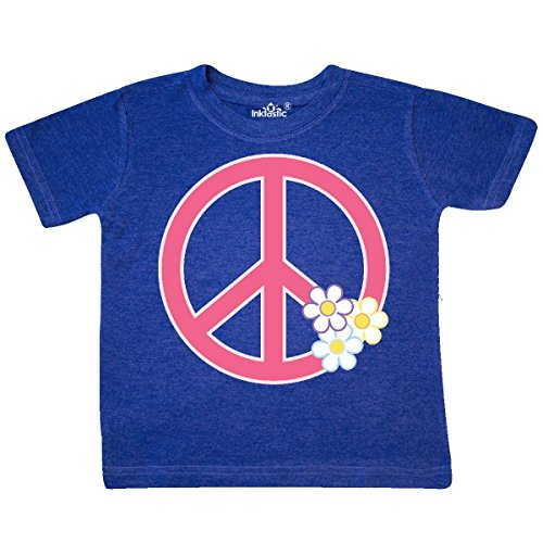 inktastic - Peace Sign Cute Daisy Toddler T-Shirt 4T Retro Heather Royal 31420