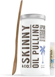 product image for Skinny & CO. Peppermint Coconut Oil Pulling Kit - Includes 100% Raw Coconut Oil, Bamboo Spoon, Coconut Lip Balm-for Healthier Teeth & Gums, Natural Teeth Whitening, Cleaning, Chemical Free, 8.5 oz.