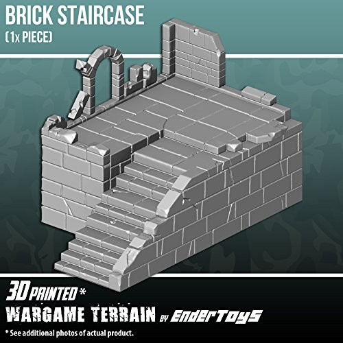 EnderToys Brick Staircase, Terrain Scenery for Tabletop 28mm Miniatures Wargame, 3D Printed and Paintable