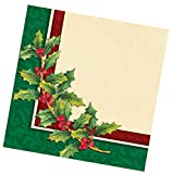 "Custom Made & Disposable {6.5"" Inch} 16 Count of 3 Ply Mid-Size Size Square Food & Beverage Napkins, Made of Soft Absorbent Paper w/ Antique Holiday Holly Party Style {Green, Black, & White}"