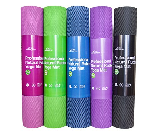 Professional Quality Natural Rubber Yoga Mat 72in x 24in - FiveFourTen (Green, 5mm)