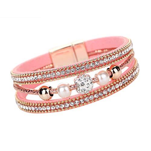 WoCoo Valentines Fashion Women Multilayer Bangle Bracelet Crystal Beaded Leather Magnetic Wristband(Pink) ()