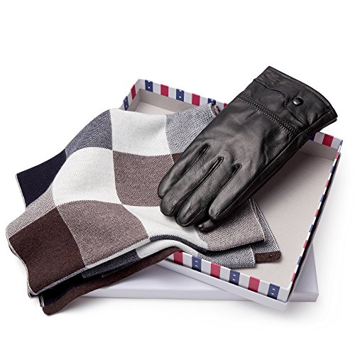 BISON DENIM Luxury Men's Texting Winter Genuine Leather Dress Driving Gloves (Cashmere/Wool/Fleece Lining) With a Soft Winter Scarves Unisex As a Gift Black from BISON DENIM