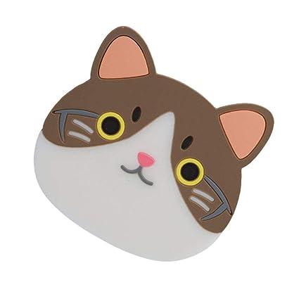 Queta - Posavasos antideslizante con forma de gato y resistente al calor, para casa,