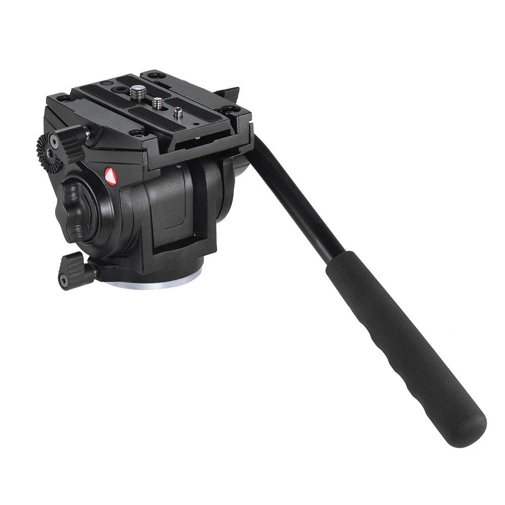 Andoer Impugnatura Fotografia Video Drag Fluido Idraulico Testa del Treppiede per Canon Nikon DSLR Videocamera Max. Capacità di Carico 5kg / lega di Alluminio 11kg