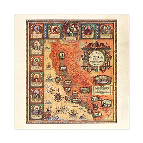 Lauritzen 1929 Pictorial Map California History Premium Wall Art Canvas Print 24X24 Inch