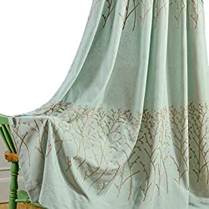 VOGOL 2 Panels Branch Embroidered Faux Linen Grommet Curtains Drapes for Bedroom Living Room, Farmhouse Window Curtains Panels, 52 x 84 Inch