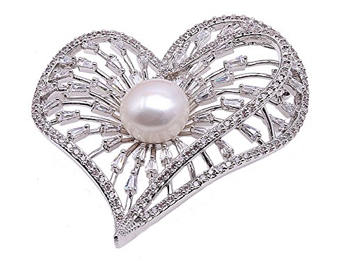 - JYX Exquisite Heart-shape 12mm Freshwater Pearl Brooch Pin Wedding Jewelry