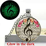 Pretty Lee Glow In The Dark Pendant Clef Necklace Music Note Necklace Jewelry Glass Photo Pendant Necklace Glowing Jewelry