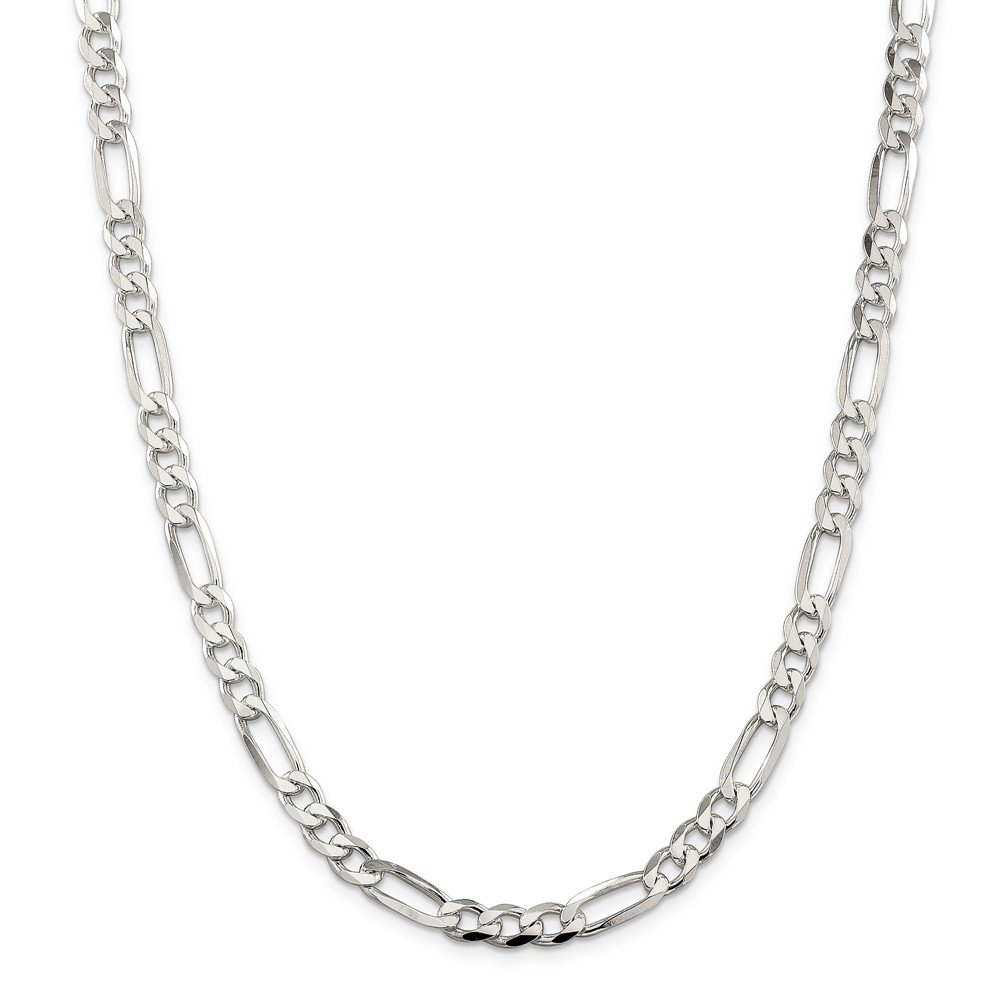 Solid 925 Sterling Silver 7mm Pav_ Flat Figaro Chain Necklace 18'' - with Secure Lobster Lock Clasp