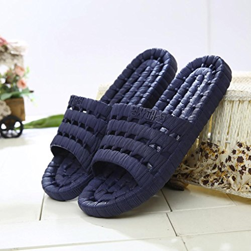 XINXINYU Mens Sommer Hausschuhe, Draussen Flip-Flops Sandalen } { Wohnungen Rutschfest Hausschuhe } { Massage Schuhe Sandalen } für Männer Tiefblau