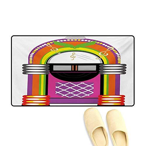 Doormat,Cartoon Vivid Ethnic Design Vintage Music Notes Radio Box Artwork,Bath Mat for Tub,Orange Purple and ()