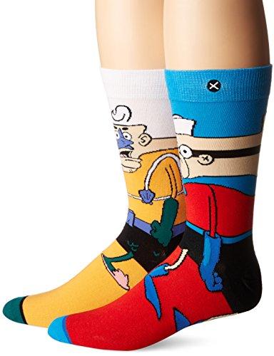 Odd Sox Men's Mermaid Man and Barnacle Boy (Knit), Multi, Sock Size:10-13/Shoe Size: 6-12