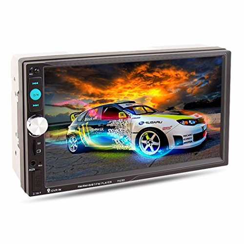 Compia 7'' 2 DIN HD Bluetooth Touch Screen Car DVD Player Receiver GPS Navigation Stereo Radio FM/MP5/MP3/USB/AUX+Rearview camera (Car Cd Player With Gps Cheap)