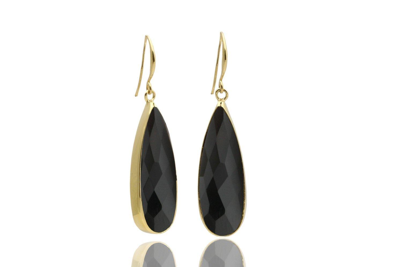 Black Onyx earrings, black earrings, long drop earrings, dangle earrings, gold earrings, custom earrings, stone earrings
