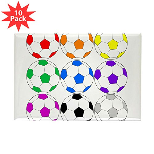 CafePress - Rainbow Of Soccer Balls Magnets - Rectangle Magnet, 2''x3'' Refrigerator Magnet (10 pack) by CafePress
