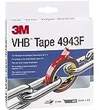 3M VHB 4943 Hochleistungs-Klebeband, 19 mm x 3 m, Grau, Schutzabdeckung: Folie (1-er Pack)