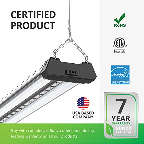 Sunco Lighting 6 Pack Industrial LED Shop Light, 4 FT, Linkable Integrated Fixture, 40W=260W, 5000K Daylight, 4000 LM, Surface + Suspension Mount, Pull Chain, Utility Light, Garage- Energy Star by Sunco Lighting (Image #7)