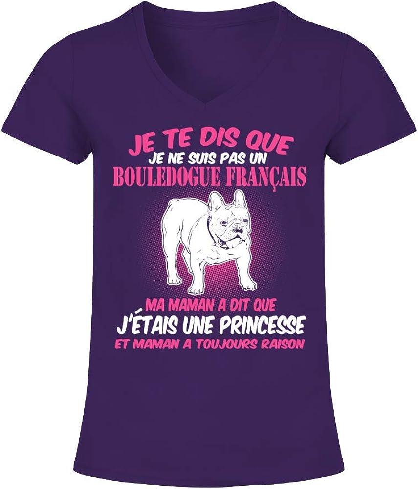 TEEZILY T-Shirt Femme Bouledogue FRAN/ÇAIS