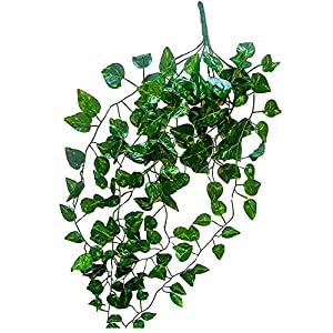 "Ivy Money Hanging Plant Vine Leaves Artificial Fake Garland Pot Wedding Silk Leaf Decoration Length 40"" Indoor Decor Wall Table Decoration Office Bush Faux 94"