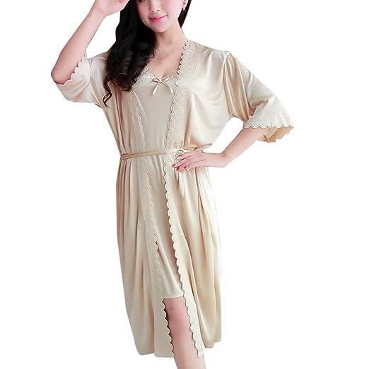 DORIC Womens Thigh Sexy Ice Silk Temptation Lingerie Sleepwear Pajamas  Underwear Nightdress Beige 8d51fae7e